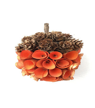 Blooming Autumn Pinecone & Wood Chip Acorn-Orange
