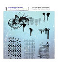 IndigoBlu 6 pk Mounted Rubber Stamps-Drips & Textures
