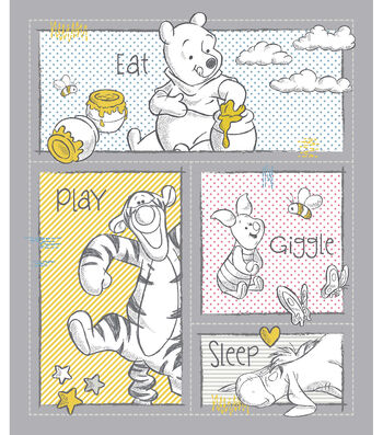 Nursery Cotton Fabric Panel-Pooh Patch
