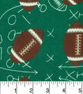 Snuggle Flannel Fabric -Footballs On Green