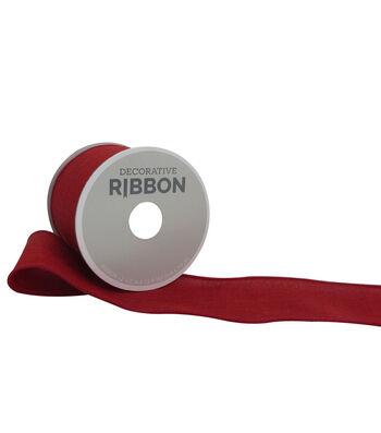 "Decorative Ribbon 2.5"" Solid Linen Ribbon-Red"