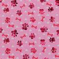 Novelty Cotton Fabric 43\u0022-Pink Paw Prints