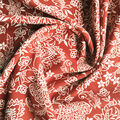 Stretch Crepe Knit Fabric-Rust Ivory Ornate Floral