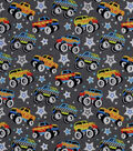 Snuggle Flannel Fabric-Monster Trucks & Stars