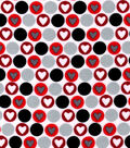 Snuggle Flannel Fabric -Hearts on Red Dots