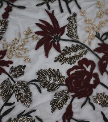 Casa Embellish Embroidered Sequin Fabric 56''-Burgundy Floral