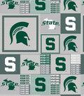 Michigan State University Spartans Fleece Fabric 60\u0022-Gray Box