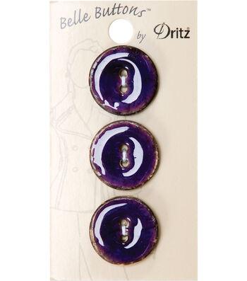 Dritz Belle Button Natural Coconut Purple 23mm