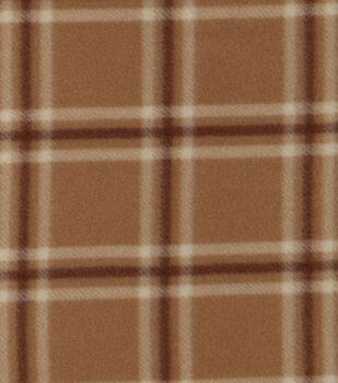 Blizzard Fleece Fabric-Blake Brown Plaid