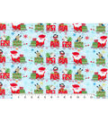 Maker\u0027s Holiday Flannel Fabric 43\u0022-Santa and Pals on Trains