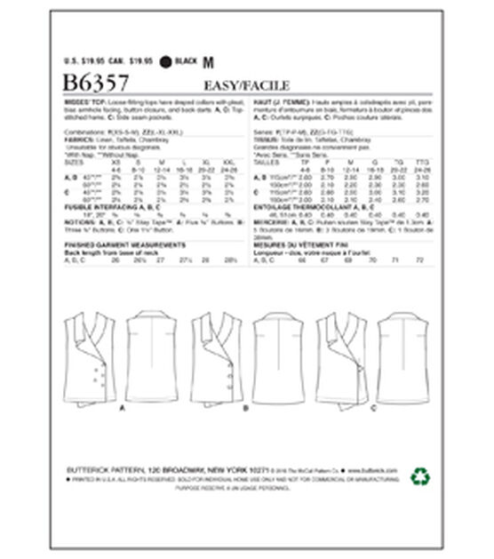 Butterick Pattern B6357 Misses' Wrap Tops with Shawl Collar Size 4 14, , hi-res, image 2