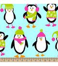 Anti-Pill Fleece Fabric -Penguins Teal
