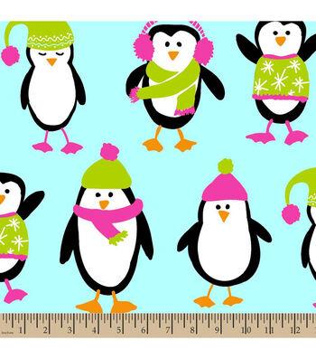 "Anti-Pill Fleece Fabric 59""-Penguins Teal"