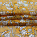 Silky Chiffon Fabric-Whimsy Floral on Gold