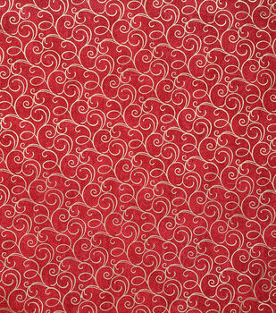 Keepsake Calico Cotton Fabric-Red Foil Swirls