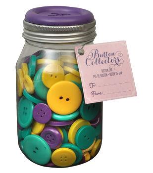 Button Collector Mason Jar-Bright Mix
