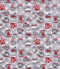 Novelty Cotton Fabric-Cafe Gray Red