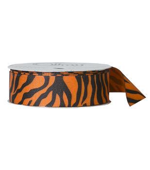 "Offray 7/8""x9' Zebra Animal Print Grosgrain Ribbon-Torrid Orange"