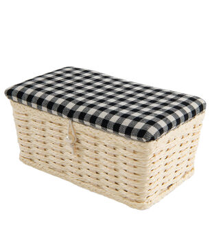 Rectangle Sewing Basket-White & Black Check