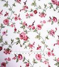 Smocked Dressing Rayon Fabric 53\u0027\u0027-Pink Floral on White