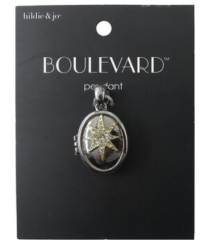 hildie & jo Oval Silver Locket Pendant-Clear Crystals Gold Star