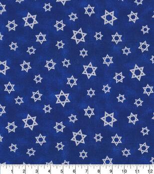 Hanukkah Cotton Fabric-Star of David with Glitter