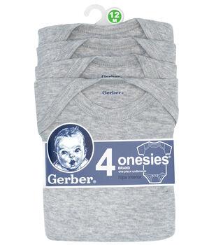 Gerber 4pk Gray Onesies 12M