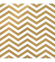 American Crafts DIY Shop 2 Gold Chevron On White Specialty Cardstock, , hi-res