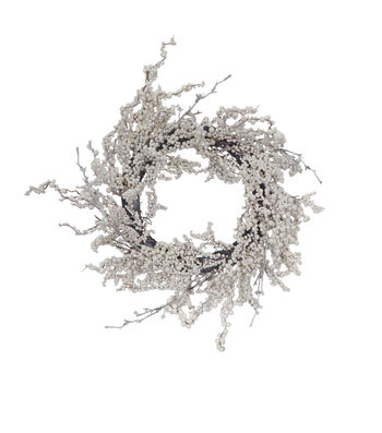 Blooming Holiday Christmas 24'' Flocked Berry Wreath-White
