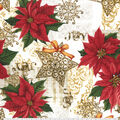 Christmas Cotton Fabric-Scroll Star Poinsettia Stamp