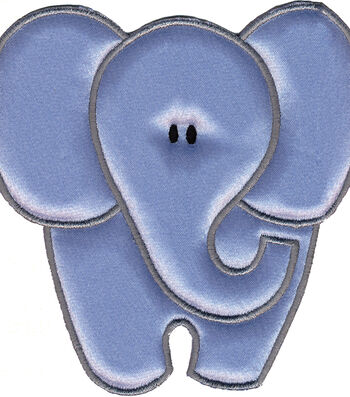 """Wrights Especially Baby Iron-On Appliques-gray Elephant 4""""X4"""" 1/Pkg"""