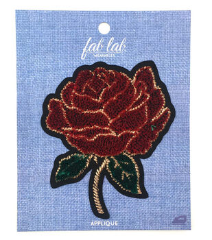 Fab Lab Wearables 3D Rose Iron-on Applique-Red