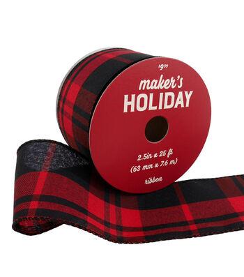 Maker's Holiday Christmas Ribbon 2.5''x25'-Red & Black Plaid