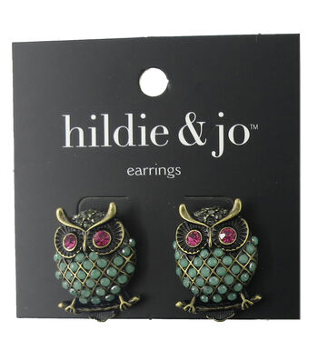 hildie & jo Owl Gold Earrings-Green, Pink & Gray Stones
