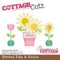 CottageCutz Die-Stitched Tulip & Daisies 1\u0022 To 3.8\u0022