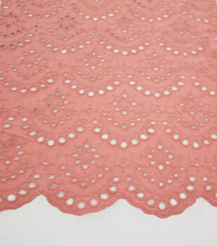 Scallop Cotton Eyelet Fabric-Terra Cotta
