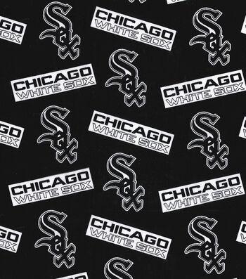 "Chicago White Sox Cotton Fabric 58""-Black"