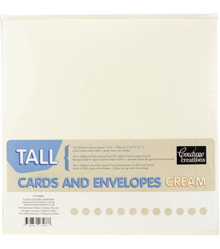 Couture Creations Tall Cards W/Envelopes 50/Pkg-Cream