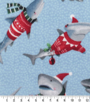Anti-Pill Plush Fleece Fabric-Sweater Sharks Hol