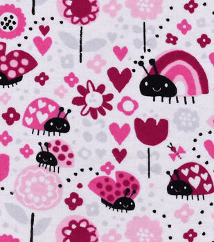 Snuggle Flannel Fabric -Ladybugs & Hearts
