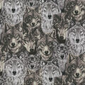 Novelty Cotton Fabric-Sketched Wolves