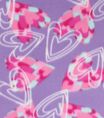 "Blizzard Fleece Fabric 59""-Sketched Hearts on Purple"