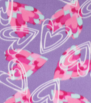 Valentine's Day Blizzard Fleece Fabric-Sketched Hearts on Purple