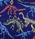 Soft & Comfy Fleece Fabric-Dinos on Navy