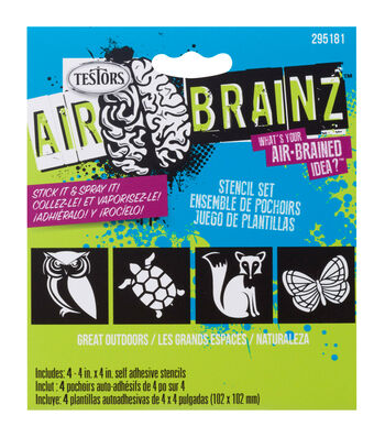"AirBrainz Airbrush Stencils 4/Pkg-Great Outdoors 4""X4"""