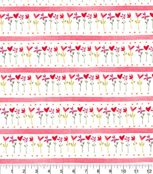 Valentine's Day Cotton Fabric-Hearts, Flowers & Stripes