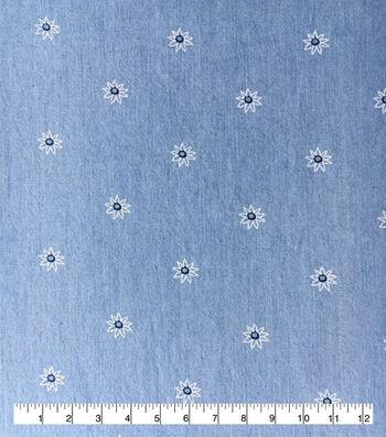 Doodles Juvenile Apparel Fabric 57''-Flowers on Light Wash Denim