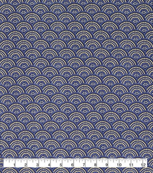Wide Flannel Fabric-Twilight Dotted Scales Navy