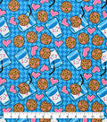 Snuggle Flannel Fabric-Milk And Cookies On Blue