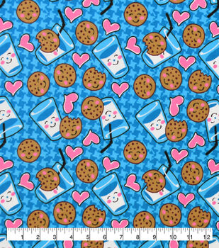 Valentine's Day Snuggle Flannel Fabric-Milk & Cookies on Blue
